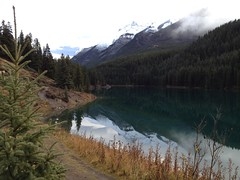 Hiking the Rockies... (Mr. Happy Face - Peace :)) Tags: banff alberta canada canada150 cans2s albertabound naturelover scenery landscape art2017 hiking canadaparks autumn fall snowcaps mist sky cloud sun