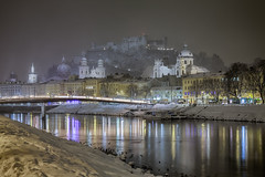View to the Fortress - Salzburg, Austria (dejott1708) Tags: salzburg night shot long exposure cityscape reflections snow old town fortress