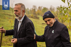 Islamic Relief Bosnia's Country Director, Semir Velija and Islamic Relief founder, Dr. Hany El-Banna address the crowd at the tree planting ceremony commemorating 25 years since the opening of IR Bosnia.