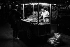 the call of the night / where the corns are boiled (Özgür Gürgey) Tags: 2017 35mm bw d750 darkcity nikon samyang candid corn people steam street istanbul