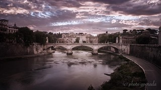 Tiber River - Water flowing and clouds animation