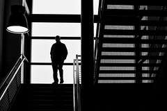 landing (Dean Forbes) Tags: bw stairway man backlight silhouette