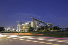 NRG Stadium - Reliant Stadium (Mabry Campbell) Tags: harriscounty houston houstonstock kirbydrive nrg nrgstadium reliantstadium texas usa unitedstatesofamerica architecture big blue bluehour brand building cartrails colorimage commercial commercialphotography disk exterior fineartphotography image landmark large lighttrails logo manmade motion movement nopeople photo photograph photographer photography sportvenue sportsvenue stadium stock twilight venue f80 mabrycampbell june 2015 june192015 20150619h6a7409 24mm 150sec 100 tse24mmf35lii