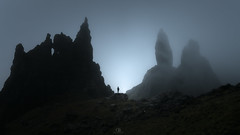 Meeting the Old Man (DBPhotographe) Tags: quiraing scotland old man storr dark mood fog mist atmosphere rocks blue hour skye isle staffin portree silhouette