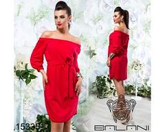 Летнее женское платье с открытыми плечами ровного кро под пояс красное (arrkareeta) Tags: