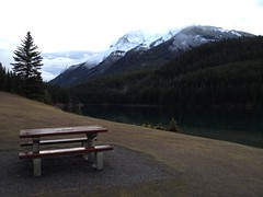 HBM ...... Albertabound (Mr. Happy Face - Peace :)) Tags: rockies banff alberta canada cans2s art2017 bench snowcaps scenery autumn fall clouds sky sun naturelover hiking hbm benchmonday emptyseat lonelybench