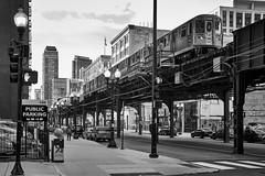 The Loop (rvrossel) Tags: chicago theloop illinois street streetphoto trains city bigcity blackandwhite bw noiretblanc blancoynegro monochrome fujixt10 fujixseries fujishooters fujilove sundaylights