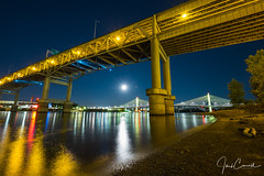Full Moon Over Tilikum Crossing (TwistedJake) Tags: marquam night river beach oregon bridge full crossing poets willamette shot moon northwest tilikum portland downtown