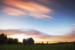 Peach Patches (Matt Molloy) Tags: mattmolloy timelapse photography timestack photostack movement motion evening sunset colourful sky clouds trails lines barn silo field trees violet ontario canada landscape countryside lovelife