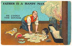 He Cooks The Dinner (pepandtim) Tags: he cooks dinner postcard old early nostalgia nostalgic selwell series jwa kensington 19061907 1907 friend church street high enigmatic 99hct72 smoke eggs saucepan meat father handy man lid plate tap fender