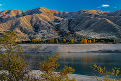 lucky peak-10-19-17-27 (Ken Folwell) Tags: water lake skies cloud sky reflections lines fallcolors outdoor landscape landscapes sunset idaho canon5dmkiii reservoir