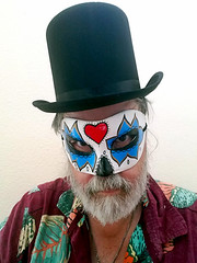 Baron Samedi? (EmperorNorton47) Tags: portolahills california photo digital autumn fall halloween dayoftheded tophat hat mask beard selfie selfportrait man middleaged