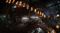 Deus Ex: Mankind Divided - Útulek Complex (Golem city), (Narayan_N7) Tags: narayan deus ex deusex future scifi cyberpunk atmosphere entourage design details lights science fiction screenshot photography architecture augmentation mankind divided mankinddivided dxmd prague city 4k uhd panorama darkness interior industrial útulek golem lamps light people trash market wires shadows slum ghetto puddle