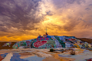 Heavenly Sunset at Salvation Mountain.
