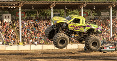 Ballistic..... (Kevin Povenz Thanks for the 3,600,000 views) Tags: 2017 july kevinpovenz westmichigan ottawacounty ottawa ottawacountyfair monstertrucks holland truck fair grandstands spectators people male female stands green ballistic tires fun show outside outdoors canon7dmarkii sigma 24105 art