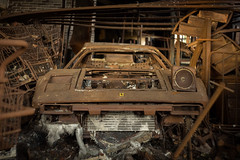 Burned Ferrari 308 GT-Berlineta (leKorbo.be) Tags: rusty gtb 308 sonya7 manualfocus russianlens zenit f2 58mm helioslens ferrari magnum burned decay garage