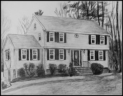 Black & White  Pencil Drawing Of A House - Drawing Done by STEVEN CHATEAUNEUF (2017) (snc145) Tags: trees sky bushes lawn house architecture landscape scenery outdoor art artist artists pencil drawing blackwhite monochrome flickrunitedaward