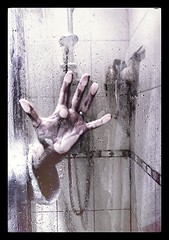 Day 275 CP17 week40 Drama!!! (Clare Pickett) Tags: scary drama clean glass iphone wet shower hand