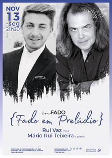 CONCERTO IN FADO - Duetos da Sé - Alfama Lisboa - SEGUNDA-FEIRA 13 NOVEMBRO 2017 - 21h30 - Fado em Prelúdio - Rui Vaz - Mário Rui Teixeira