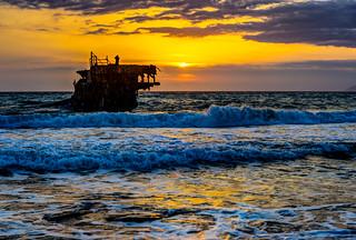 Sunset at the Akrotiri Shipwreck