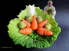 Vegetable masterpiece (amy's antics ( catching up)) Tags: wah wearehere vegetables carrots peas cabbage leaf green orange minime frozensprouts