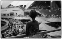 Watching Over  Retropan 360 film (cupitt1) Tags: opera house girl asian sydney nsw australia black hair stepd crowds film 35mm slr foma retropan360 fomadon monochrome v550 back rear view watching