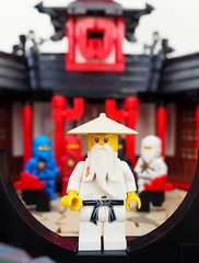 Meet the Ninja (Robert4168/Garmadon) Tags: lego ninjago sensei wu ninja kai jay zane cole monastery spinjitzu action shots red white tan black