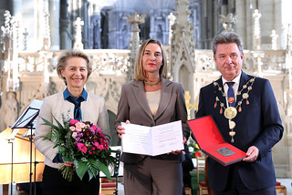 Federica Mogherini recevies the 'Kaiser-Otto-Preis 2017' at Cathedral of Saints Catherine and Maurice in Magdeburg, October 2017