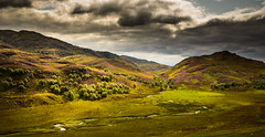 View near Errogie, Scotland (Mister Electron) Tags: nikond800 scotland scottishhighlands highlands highlandsandislands mountains hills heather clouds weather windingstream sunlight landscape wilderness invernessshire