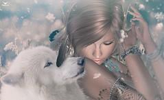 Kristy~Through all Seasons... (Skip Staheli *FULLY BOOKED*) Tags: skipstaheli secondlife sl winter snow wolf indian feathers white kristyverlaine fantasy dreamy virtualworld avatar digitalpainting