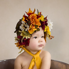:: autumn flower :: (mjcollins photography) Tags: baby infant girl autumn fall flowers floral bonnet brown eyes