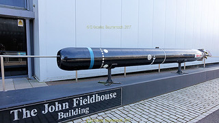 Torpedo exhibit at the Submarine Museum in Haslar road, September 2017, part of the Portsmouth Historic Dockyard but across the water in Gosport, Hampshire, England.