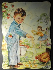 Feeding the Chickens (clarkcg photography) Tags: puzzle largepiecepuzzle feedingchickens farm smile thoughts chicks boy girl hen bucket smileonsaturday objectsofsentimentalvalue