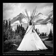 Teepee with Mt. Whyte, Mt. Niblock and Chateau Lake Louise, Banff National Park, Alberta (kgogrady) Tags: landscape summer lakelouise alberta canada westerncanada xf18135mmf3556oiswr trees xt2 clouds building blackandwhite 2017 banffnationalpark chateaulakelouise canadianlandscapes blackwhite canadianrockies fujifilmxt2 cans2s canadianrockieslanscape fujinon canadianmountains canadiannationalparks ab fairmountchateaulakelouise fujifilm mtniblock nopeople noone mountniblock mtwhyte mountwhyte
