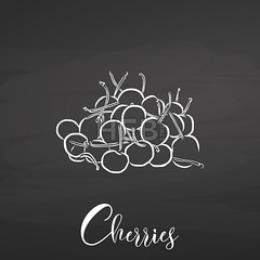 Bunch of cherries on chalkboard (Hebstreits) Tags: art background banana berry blackberry blackboard chalk chalkboard cherry design drawing drawn food fresh fruit fruits hand healthy illustration jar letter lettering line nature organic set sketch sweet template typo typography vector vegetarian vintage