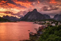 reine on fire (Dennis_F) Tags: august europe island lofoten nature nordic norway norwegen outdoors reise travel sunset colors mountain sky cloud water reflection town