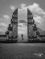Indonesia - Bali (Leni Sediva) Tags: indonesia temple hindu gate mountains mountain volcano vulcano czechoutmytravels czechgirl canon blackandwhite blackwhite clouds coolclouds agung mount mountagung eruption nature bali posing people yoga bucketlist dreamscometrue asia seasia airphotography altitude backpacking background landscape lenisediva lonelyplanet worldnomads sky dancing dance holidays hiking exposure view history journey lines crater explore