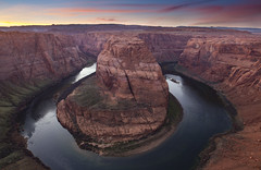 Horseshoe Bend (BrandonSlames) Tags: horeseshoe bend grand canyon nationalparks park adventure nature photography landscape sunset travel scenic lookout page arizona river water rocks red sky clouds scene wide rokinon canon t3i eos light fading hiking camping outdoors outside winter exposure explore geographic usa sun discover skies atmosphere viewpoint view beautiful beauty national
