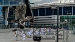 Atlanta, GA: Atlanta Falcons dirty brid at Mercedes Benz Stadium with party goers to Le Diner en Blanc (nabobswims) Tags: atlanta falcons ga georgia hdr highdynamicrange ledinerenblanc lightroom mercedesbenzstadium nabob nabobswims photomatix sel18105g sonya6000 stadium statue us unitedstates