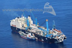 CASTORONE being bunkered by VEMAOIL XI at Bunkering Area 3 West, Malta - 13.10.2017 - www.maltashipphotos.com (Malta Ship Photos & Action Photos) Tags: sea malta opl ship offshore saipem pipelayer bhs flag bunkering vemaoil macoil xi aerial