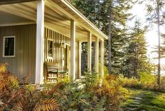The Porch (sjoblues) Tags: porch sunset maine mountdesertisland foliage ferns