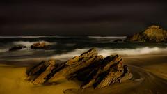 Otherwordly Seascape (Deibertography) Tags: southkorea clouds eastcoast landscape nature night nightscape ocean overcast rocks sea seascape shore sky water waves greatphotographers