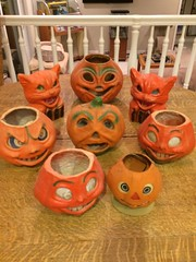 ANTIQUE HALLOWEEN MEMORABILIA (kelsey61 (GONE IN AUGUST)) Tags: halloween jackolanterns papermache 940s 1950s antiques collectibes holidaymemorabilia