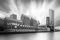 Architecture generations (frank_w_aus_l) Tags: rotterdam architecture old new longexposure nikon d800 pce shift reflection water sky skyscraper bw zuidholland niederlande nl blackandwhite fineart