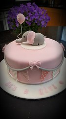 Baby Shower Cake (Victorious_Sponge) Tags: pink girl baby shower cake birthday christening first one elephant balloon bunting