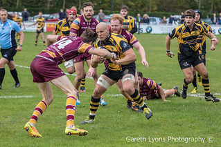 Gareth Turner charges at Sedgley Park's Andrew Riley-7887