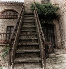 La escalera (candi...) Tags: escalera mura pueblo calle airelibre peldaños baranda ventanas puerta fachada arquitectura sonya77 tejas plantas