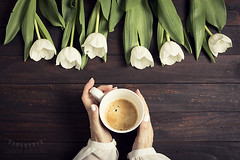 Coffee and tulips (Ramón Antiñolo) Tags: flatlay retro vintage cottage shabbychic morning cup table spring coffee flower breakfast wooden female tulips romantic hands woman girl mug floral espresso lifestyle gift celebration valentine above topview blossom florist