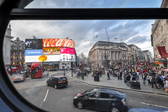 Piccadilly Circus (ccr_358) Tags: ccr358 2016 august summer uk gb england unitedkingdom greatbritain london nikond5000 nikon d5000 centrallondon day clouds city bus doubledecker piccadilly piccadillycircus traffic tourism window throughaglass people 139towesthampstead car