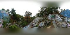 Skull Cliff (brooksbos) Tags: brooks brooksbos lynnfield lynnwoods massachusetts newengland ich ichabod skulls cliff art artwork graffiti graffitiart woods historic panorama panoramic 360 lg g6 geotagged saugus forest trees autumn hiking backpacking